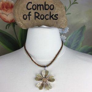 Kenneth Cole Bead 2 Strand Enamel Flower Necklace